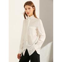 Amii极简法式小众高领衬衫女春春季新款时尚洋气长袖职场白色上衣