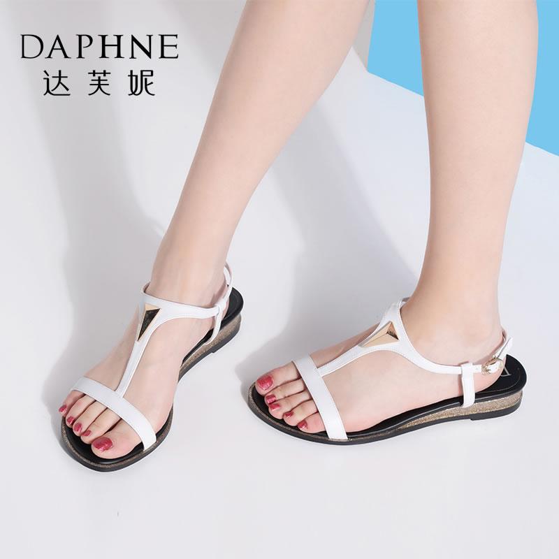 Daphne/达芙妮夏季专柜同款简约低跟舒适平底女凉鞋