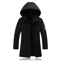 中长款棉衣男外套冬季男士韩版修身加厚黑色连帽潮流棉袄 黑色 L