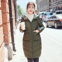 高梵2018新款时尚貉子毛领羽绒服女中长款冬季韩版时尚连帽外套潮