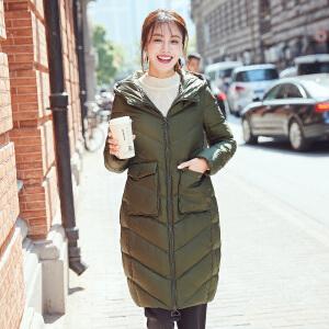 高梵2017新款茧型中长款连帽羽绒服女 拉链显瘦甜美风纯色外套
