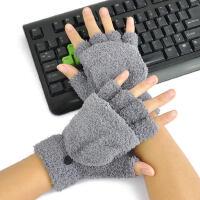 �n版潮男半指手套女秋冬季翻�w可�垓T��敉獗E��q手套
