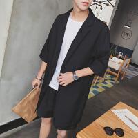韩版春夏男士中长款薄款风衣宽松七分袖黑色落肩外套潮