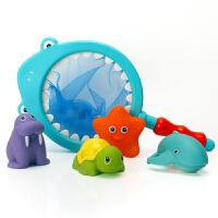 宝宝洗澡玩具小猫捞鱼儿童戏水玩具洗澡漂浮软胶喷水捏捏叫男女孩