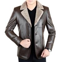 秋冬季男装真皮皮衣男士皮毛一体加绒加厚修身夹克绵羊皮外套 咸菜 5码