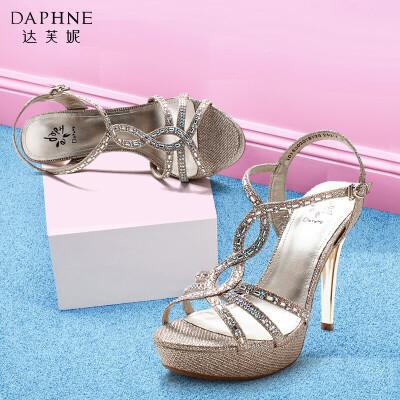 Daphne/达芙妮夏季时尚水钻细高跟防水台细带女凉鞋