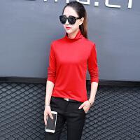 大红色女士长袖t恤高领2018新款女衫个性潮流时尚衣服长轴