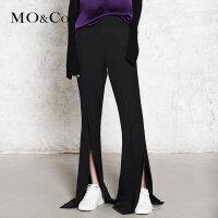 【到手价:245,狂欢继续,每满300减30】MOCO黑色高腰开叉超长阔腿裤女喇叭裤MA173PAT113 摩安珂