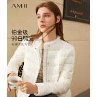 Amii小香时尚白色轻薄羽绒服2020年新款洋气高领短款轻便外套女潮