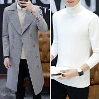 羊毛呢子大衣男中长款新款修身毛呢外套韩版冬季过膝长款风衣