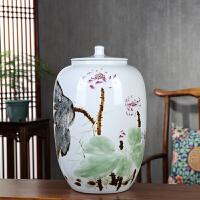 景德镇50斤陶瓷带盖储物罐米缸防潮防虫大号手绘荷花中式客厅厨房