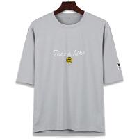 男士时尚休闲半袖T恤 男拼接纯色刺绣T恤打底衫