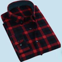 春季全棉男士休闲衬衫纯棉红黑格子中年中老年人加肥加大码爸爸装