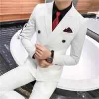 17秋冬新品韩版修身男士西服套装条纹双排扣新郎伴郎西装婚礼两件
