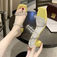 户外时尚女士拖鞋女外穿性感气质中跟鞋舒适休闲女鞋
