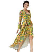 欧洲站2017夏装新款修身连衣裙显瘦印花鱼尾长裙度假沙滩裙 黄色