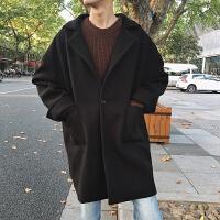 新款呢子大衣男中长款连帽韩版宽松潮男呢大衣冬季毛呢外套潮 黑 M