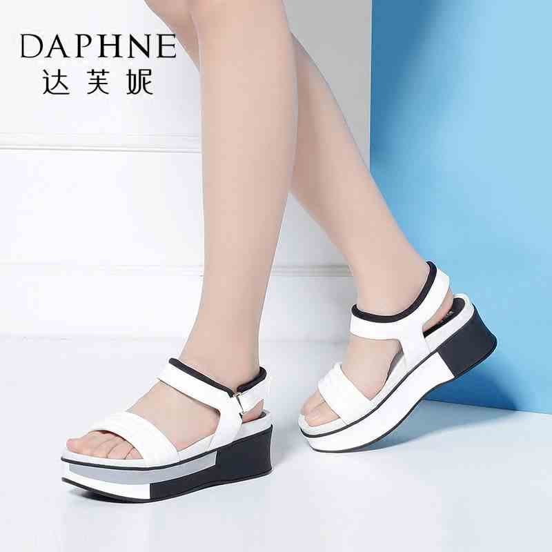 Daphne/达芙妮Vivifleurs夏季女鞋 舒适厚底松糕鞋平底女凉鞋