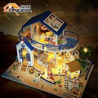弘达diy小屋蓝海传说手工创意别墅房子模型拼装制作木质大型