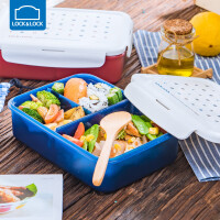乐扣乐扣便当盒塑料日式保鲜盒微波炉分隔带饭的饭盒上班族【1300ml】