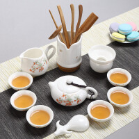 德化白瓷羊脂玉茶具套装家用整套功夫简易茶具陶瓷现代简约盖碗喝茶壶
