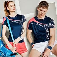 新品 YY羽毛球服 套装 印花拼接速干吸汗男女款羽毛球服