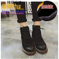 春秋新款韩版磨砂擦色短靴子平底加绒马丁靴布洛克系带女鞋潮