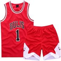 篮球服儿童套装公牛队 23号乔丹篮球服儿童运动休闲舒适透气无袖童装套装