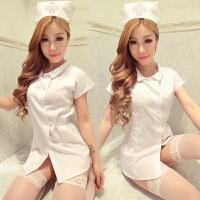 性感女士制服极度诱惑真人包臀短裙夜店护士服吊袜带套装 +粉网袜