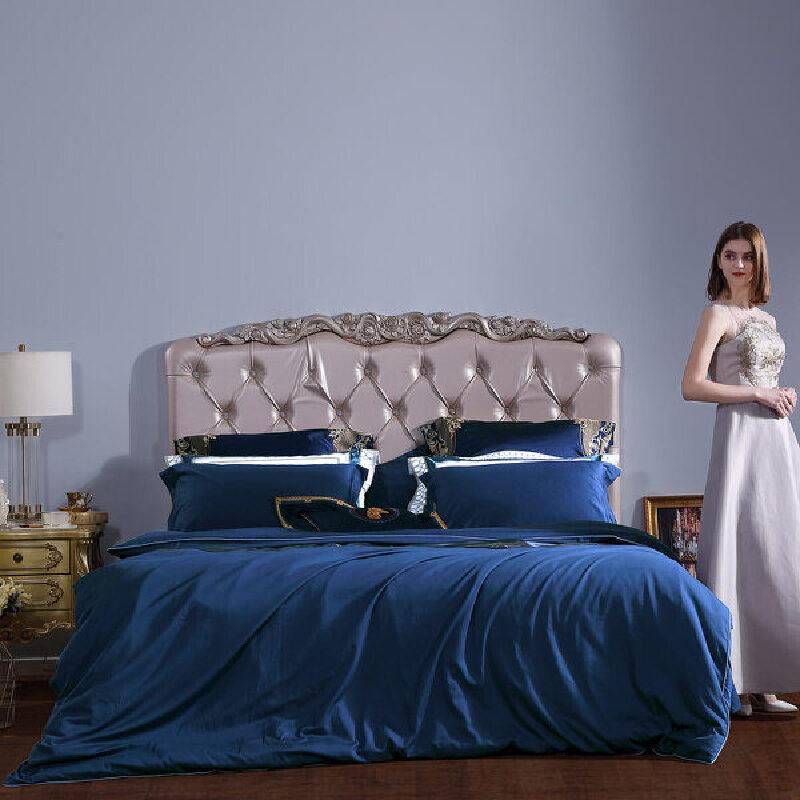 百丽丝家纺 水星出品 长绒棉纯色简约全棉四件套 宝瑞茵1.2米床 活性印染工艺 八点定位绑绳 60支长绒棉面料