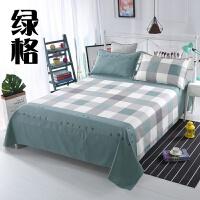 床单四件套纯全棉加厚老粗布四件套简约床上单双人学生套件1.51.8 荧光绿 绿格