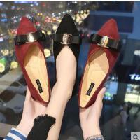 蝴蝶结尖头平底单鞋女抖音同款韩版浅口软底工作鞋学生女鞋