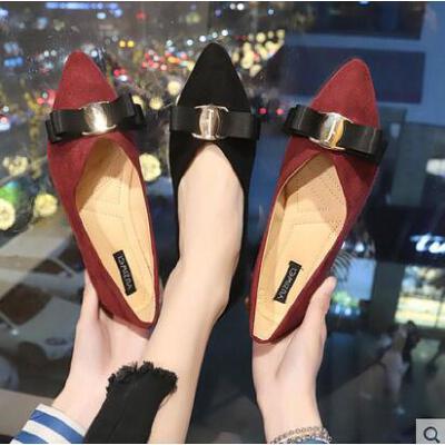 蝴蝶结尖头平底单鞋女抖音同款韩版浅口软底工作鞋学生女鞋 品质保证 售后无忧