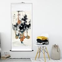 国画手绘花鸟牡丹鱼柿子书法福寿客厅我是礼品字画装饰竖卷轴中式 已经装裱:170*70CM 两件减三元+已装裱成