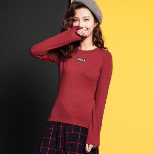七格格长袖t恤女2017秋冬装新款韩版宽松外穿百搭套头学生打底衫上衣潮