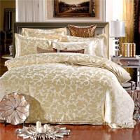 家纺四件套纯棉贡缎提花4件套 欧式婚庆床品 奥兰蒂 奶白 1.5米床 被套200*230cm