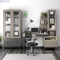 现代简约台式电脑桌学习办公桌卧室家用书桌书柜书架一体组合 椅子 两门书柜