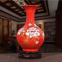 景德镇陶瓷器中国红牡丹花开富贵花瓶摆件 客厅家居工艺品装饰件