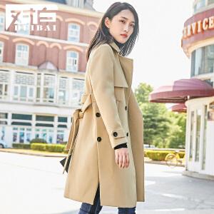 对白开叉系带驼色呢子大衣女冬新款中长款直筒毛呢外套