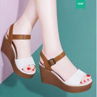 古奇天伦新款厚底松糕鞋韩版一字扣带百搭夏天高跟鞋子坡跟凉鞋女夏季YU03377