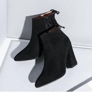 O'SHELL欧希尔新品136-F8欧美磨砂绒面粗跟女士短靴