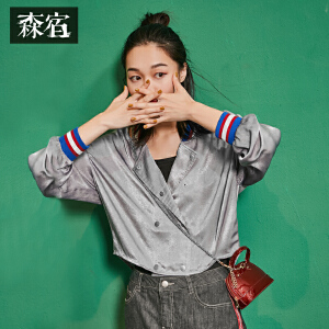 【尾品直降】森宿Z十分有趣秋装新款文艺罗纹领拼接撞色棒球服短外套女