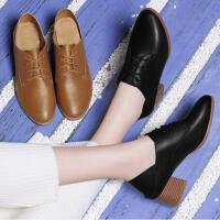 古奇天伦早春季新款单鞋韩版百搭粗跟高跟鞋黑色圆头小皮鞋英伦风女鞋CV03334