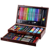 儿童画画套装工具礼盒绘画文具小学生画笔水彩笔学习用品生日礼物 123件复古棕木盒套装 送四大好礼