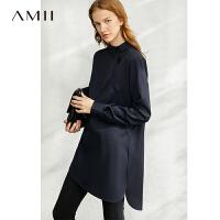 【到手价:322元】Amii极简设计感小众斜门襟100%羊毛衬衫2020春季新款中长款衬衣女
