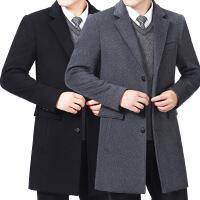 冬装男士羊绒大衣男式西装领中长款风衣羊毛呢子加棉外套商务男装