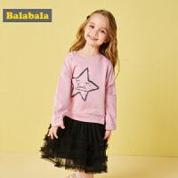 巴拉巴拉�和�女童�B衣裙����洋�馊棺忧镅b新款小童公主裙�n版