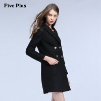 Five Plus新女冬装纯色双排扣长款宽松羊毛呢大衣外套2HF4346020