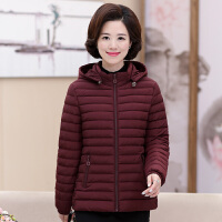 中老年女装秋冬装中年妈妈装连帽纯色加厚小棉衣40-50岁外套