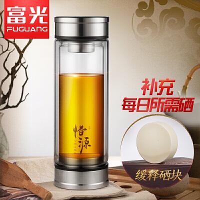 富光双层家用玻璃杯男女创意泡茶水杯便携商务富硒过滤杯子办公杯